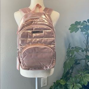 Justice Girls Rose Gold Large Quilted Backpack